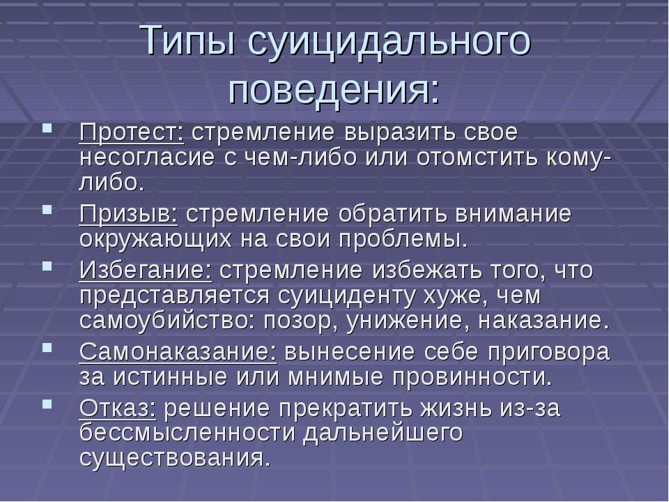 Типы суицидального поведения: Протест: стремление выразить свое несогласие с...