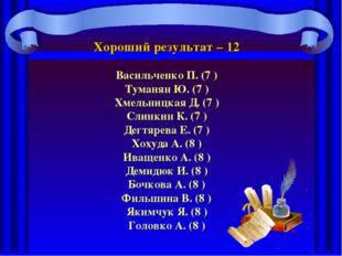 Хороший результат – 12 Васильченко П. (7 ) Туманян Ю. (7 ) Хмельницкая Д. (7