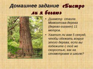Домашнее задание «Быстро ли я бегаю» Диаметр ствола Мамонтова-дерева (дерево-