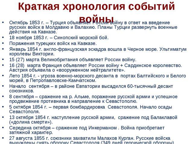 Краткая хронология событий войны Октябрь 1853 г. – Турция объявляет России во...
