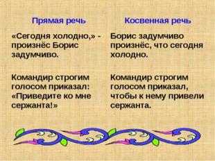 Прямая речьКосвенная речь «Сегодня холодно,» - произнёс Борис задумчиво. Ком
