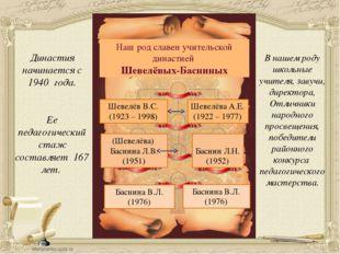 Наш род славен учительской династией Шевелёвых-Басниных Шевелёв В.С. (1923 –