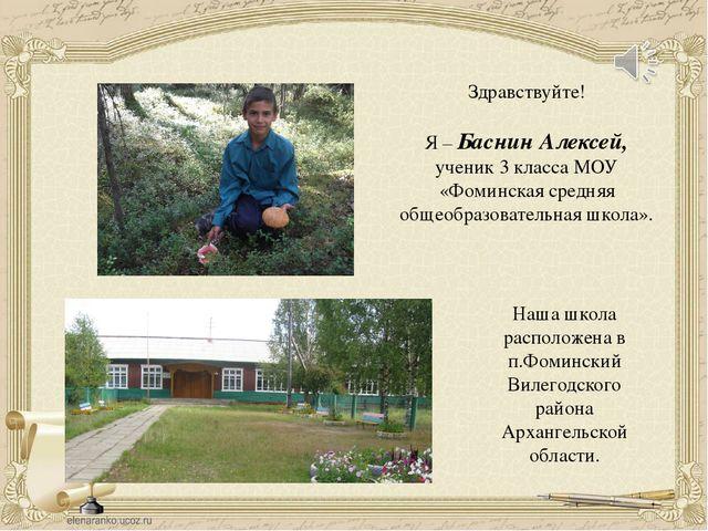 Здравствуйте! Я – Баснин Алексей, ученик 3 класса МОУ «Фоминская средняя обще...