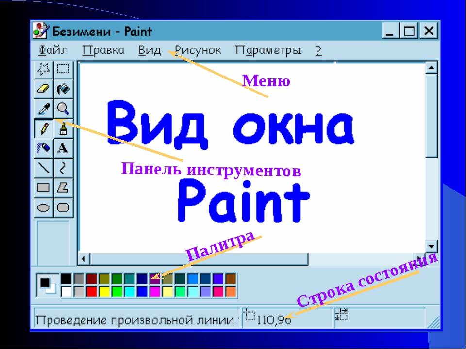 Меню Панель инструментов Палитра Строка состояния