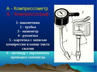 А - Компрессометр Б - Компрессограф 1- наконечник 2 - трубка 3 - манометр 4 -