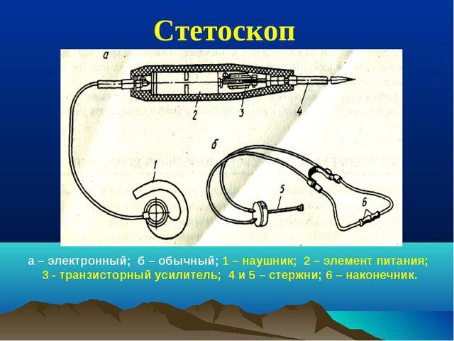 Стетоскоп а – электронный; б – обычный; 1 – наушник; 2 – элемент питания; 3 -...