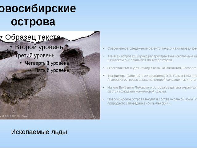 Новосибирские острова Современное оледенение развито только на островах Де-Ло...