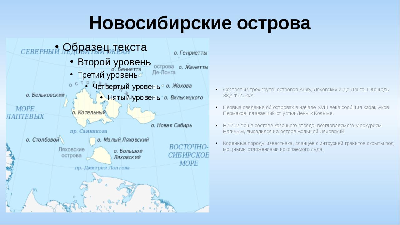 Новосибирские острова Состоят из трех групп: островов Анжу, Ляховских и Де-Ло...