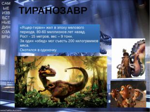 САМЫЕ ИЗВЕСТНЫЕ ДИНОЗАВРЫ ТИРАНОЗАВР «Ящер-тиран» жил в эпоху мелового период