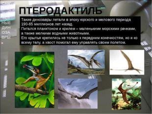 САМЫЕ ИЗВЕСТНЫЕ ДИНОЗАВРЫ ПТЕРОДАКТИЛЬ Такие динозавры летали в эпоху юрского