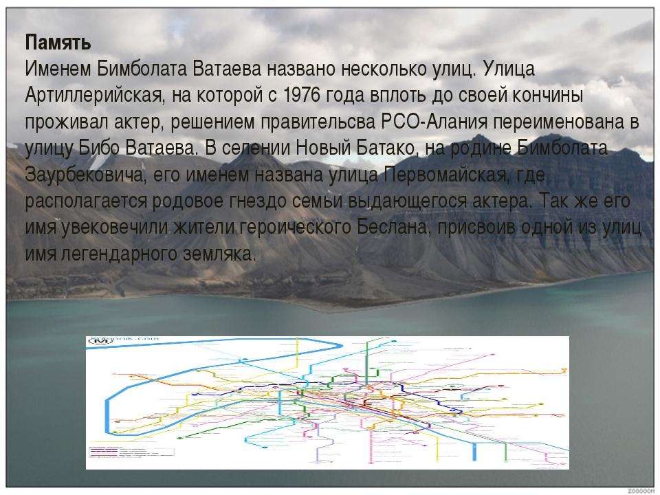 Память Именем Бимболата Ватаева названо несколько улиц. Улица Артиллерийская,...