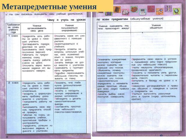 Метапредметные умения * Еропова М.А.- учитель начальных классов, 1 квалификац...