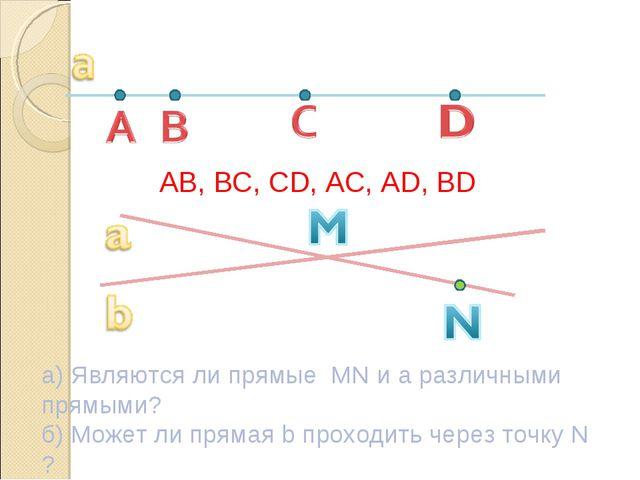 AB, BC, CD, AC, AD, BD а) Являются ли прямые MN и а различными прямыми? б) Мо...