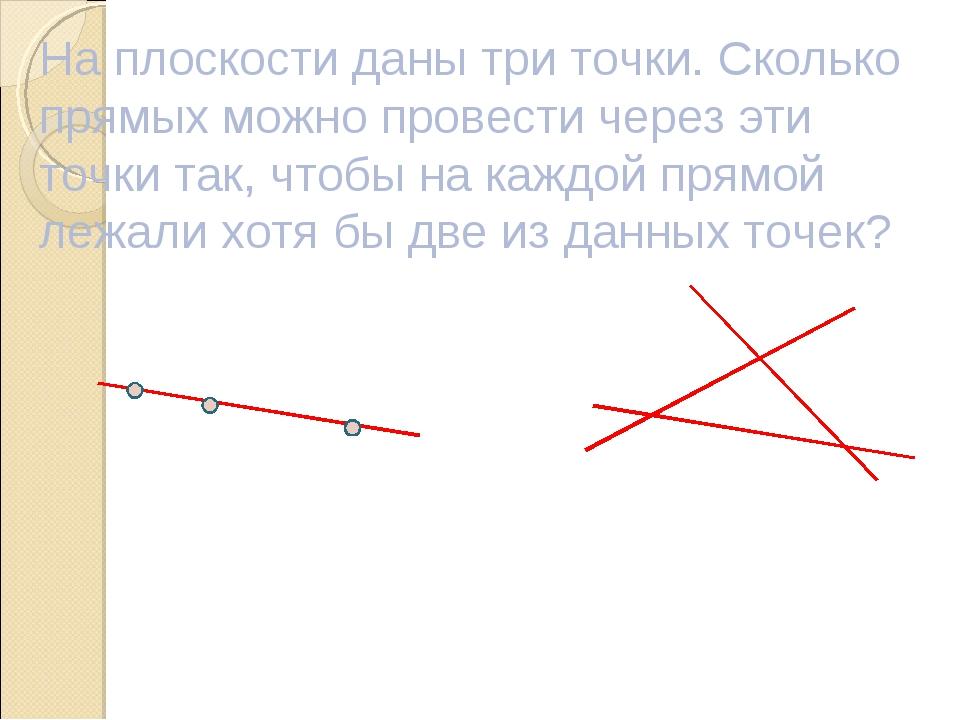 На плоскости даны три точки. Сколько прямых можно провести через эти точки та...