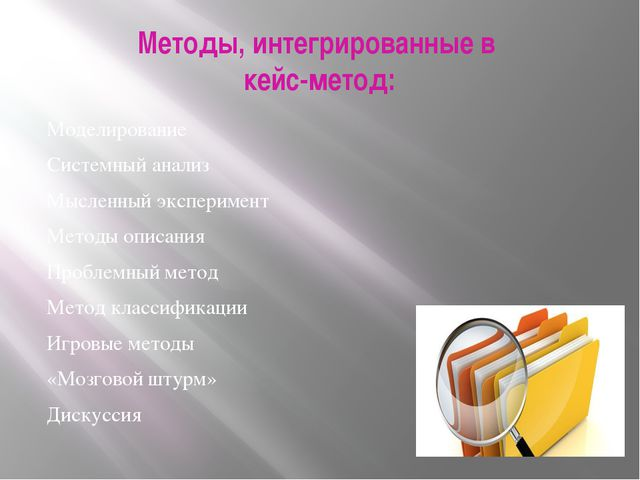 Методы, интегрированные в кейс-метод: Моделирование Системный анализ Мысленны...