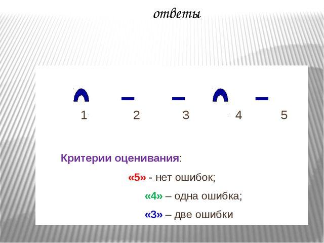 1 2 3 4 5 Критерии оценивания: «5» - нет ошибок; «4» – одна ошибка; «3» – дв...