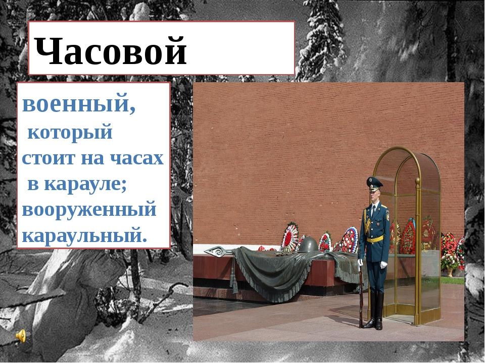 Часовой военный, который стоит на часах в карауле; вооруженныйкараульный.