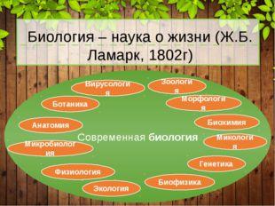 Современная биология Биология – наука о жизни (Ж.Б. Ламарк, 1802г) Ботаника З