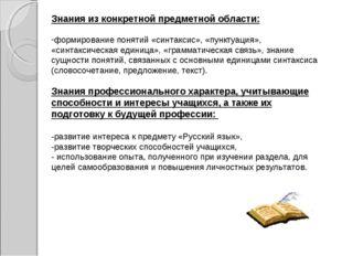 Знания из конкретной предметной области: формирование понятий «синтаксис», «п