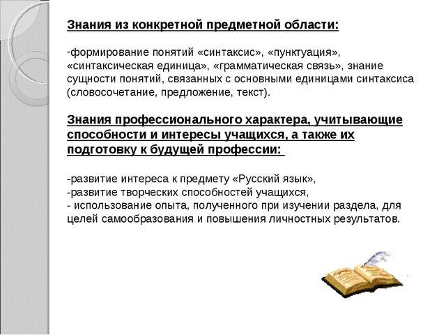 Знания из конкретной предметной области: формирование понятий «синтаксис», «п...