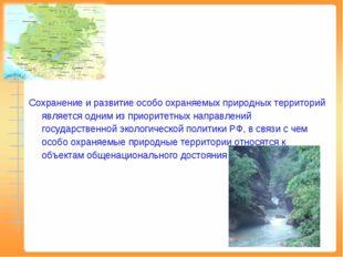 Сохранение и развитие особо охраняемых природных территорий является одним и