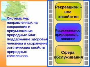 Сфера обслуживания Рациональное природополь – зование Рекреацион – ное хозяйс
