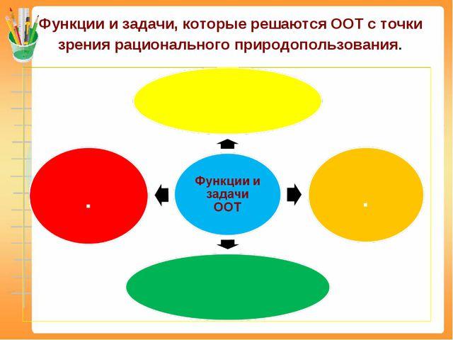 Функции и задачи, которые решаются ООТ с точки зрения рационального природопо...