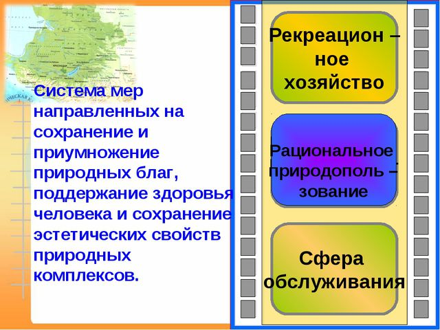 Сфера обслуживания Рациональное природополь – зование Рекреацион – ное хозяйс...