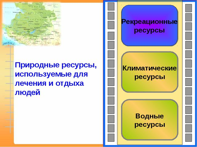 Водные ресурсы Климатические ресурсы Рекреационные ресурсы Рекреационные ресу...