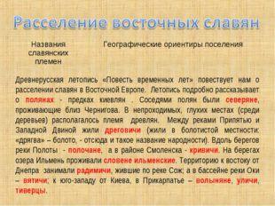 Древнерусская летопись «Повесть временных лет» повествует нам о расселении сл
