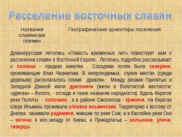 Древнерусская летопись «Повесть временных лет» повествует нам о расселении сл...