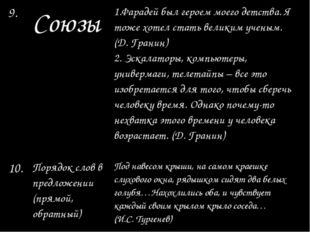 9. Союзы 1.Фарадей был героем моего детства. Ятожехотел стать великим ученым.
