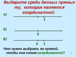 * Выберите среди данных прямых ту, которая является координатной: А) 1 Б) 0 В