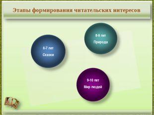 Этапы формирования читательских интересов 6-7 лет Сказки 8-9 лет Природа 9-10