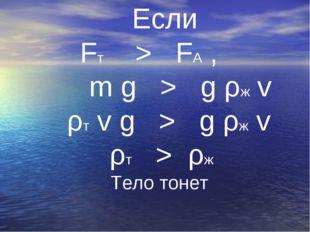 Если Fт > FА , m g > g ρж v ρт v g > g ρж v ρт > ρж Тело тонет