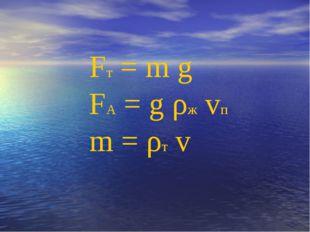 Fт = m g FА = g ρж vп m = ρт v