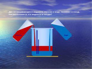 Керосин Вода Две несмешивающиеся жидкости, керосин и воду, наливают в сосуд.