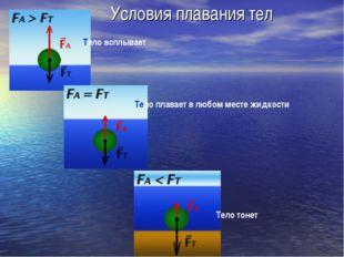 Условия плавания тел Тело всплывает Тело плавает в любом месте жидкости Тело