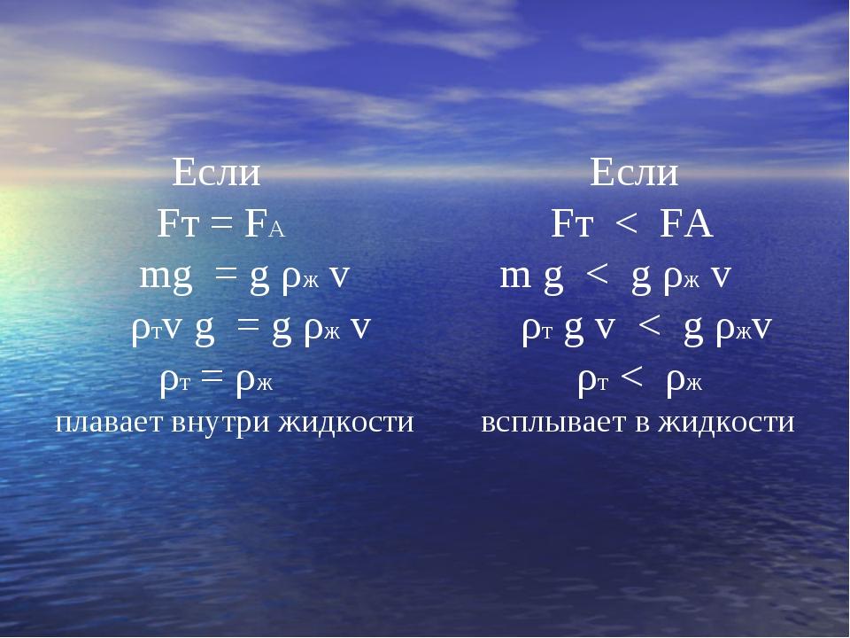 Если Если Fт = FА Fт < FА mg = g ρж v m g < g ρж v ρтv g = g ρж v ρт g v < g...