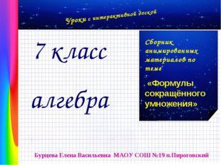 Бурцева Елена Васильевна МАОУ СОШ №19 п.Пироговский