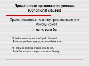 Придаточные предложения условия (Сonditional clauses) Присоединяются к главно