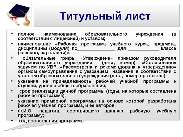 Титульный лист полное наименование образовательного учреждения (в соответстви...
