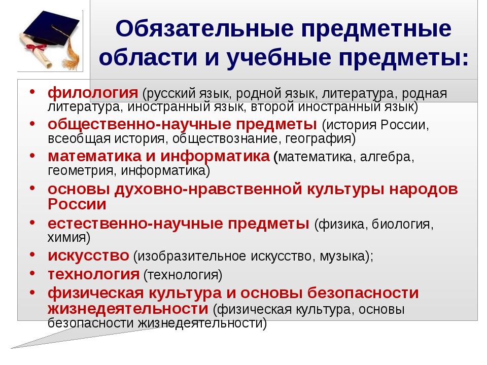 Обязательные предметные области и учебные предметы: филология (русский язык,...