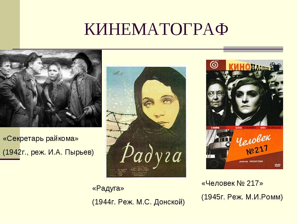 КИНЕМАТОГРАФ «Секретарь райкома» (1942г., реж. И.А. Пырьев) «Радуга» (1944г....