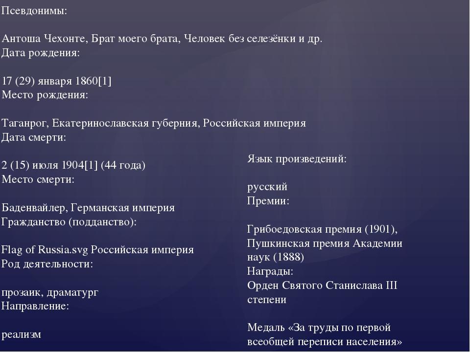 Псевдонимы:  Антоша Чехонте, Брат моего брата, Человек без селезёнки и др. Д...