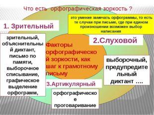 Факторы орфографической зоркости, как шаг к грамотному письму 1. Зрительный