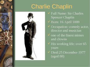 Charlie Chaplin Full Name: Sir Charles Spencer Chaplin Born: 16 April 1889 Oc