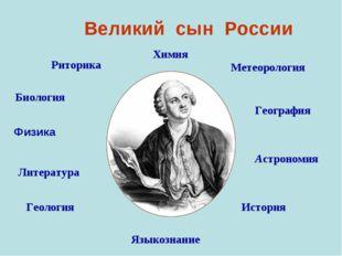 Великий сын России Химия Метеорология География Астрономия История Языкознан
