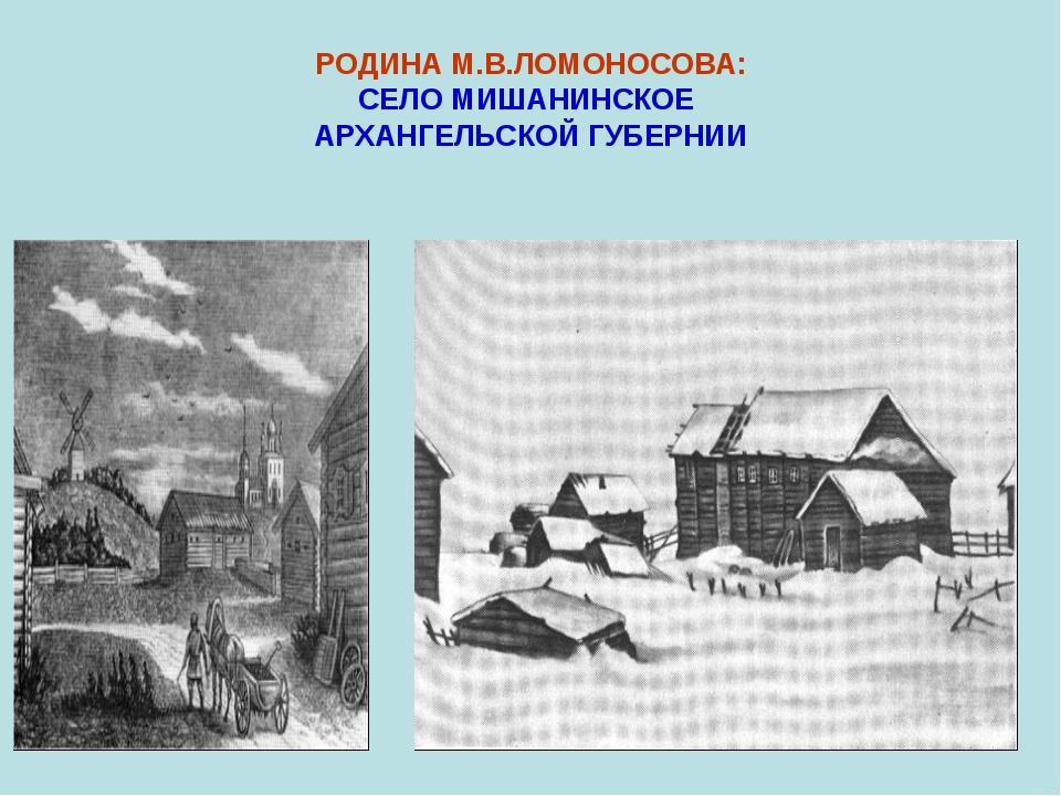 РОДИНА М.В.ЛОМОНОСОВА: СЕЛО МИШАНИНСКОЕ АРХАНГЕЛЬСКОЙ ГУБЕРНИИ