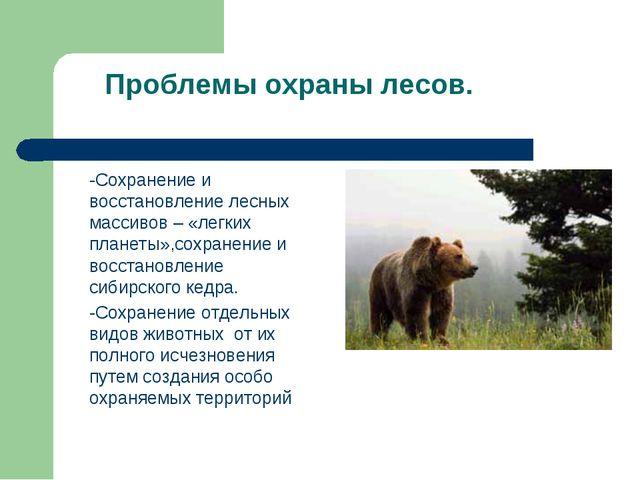 Проблемы охраны лесов. -Сохранение и восстановление лесных массивов – «легки...